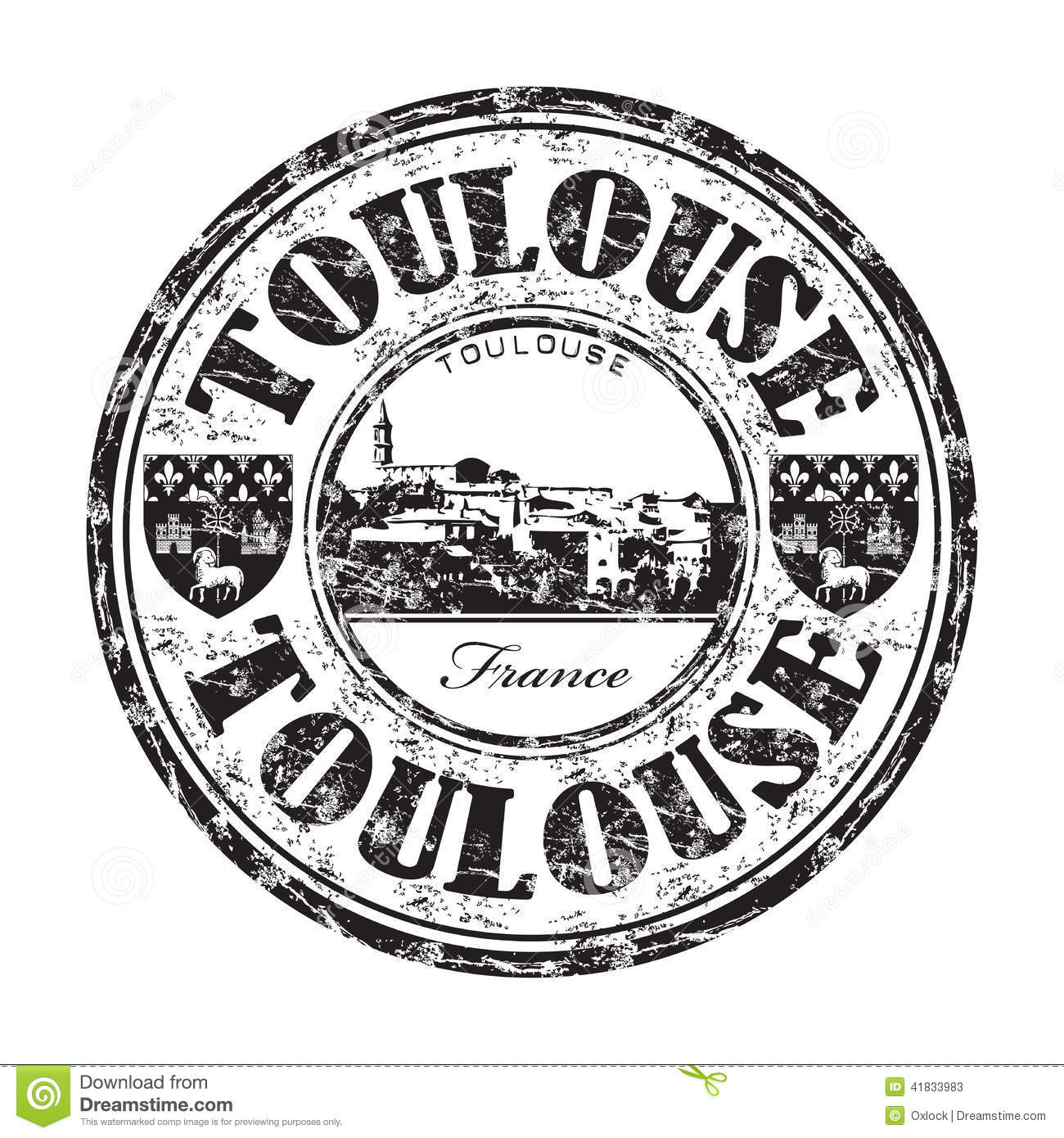 Toulouse Grunge Rubber Stamp Stock Vector.