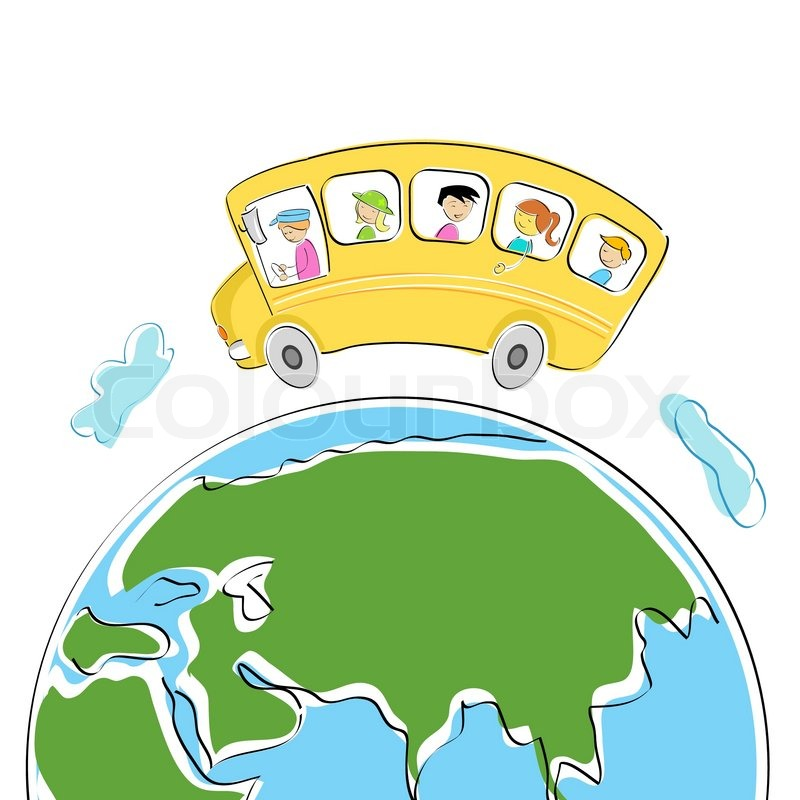 Illustration of student in school bus on world tour.