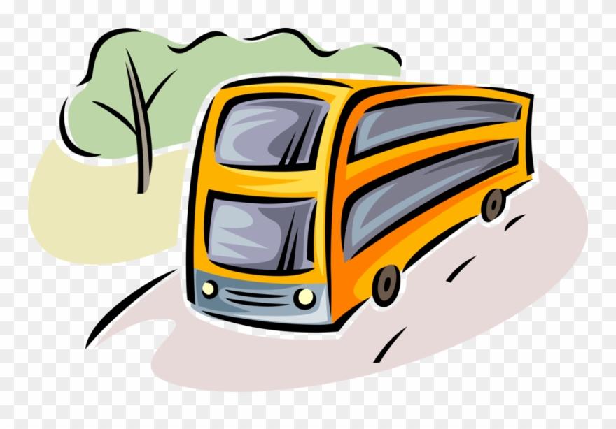 Vector Illustration Of Intercity Passenger Tour Bus Clipart.
