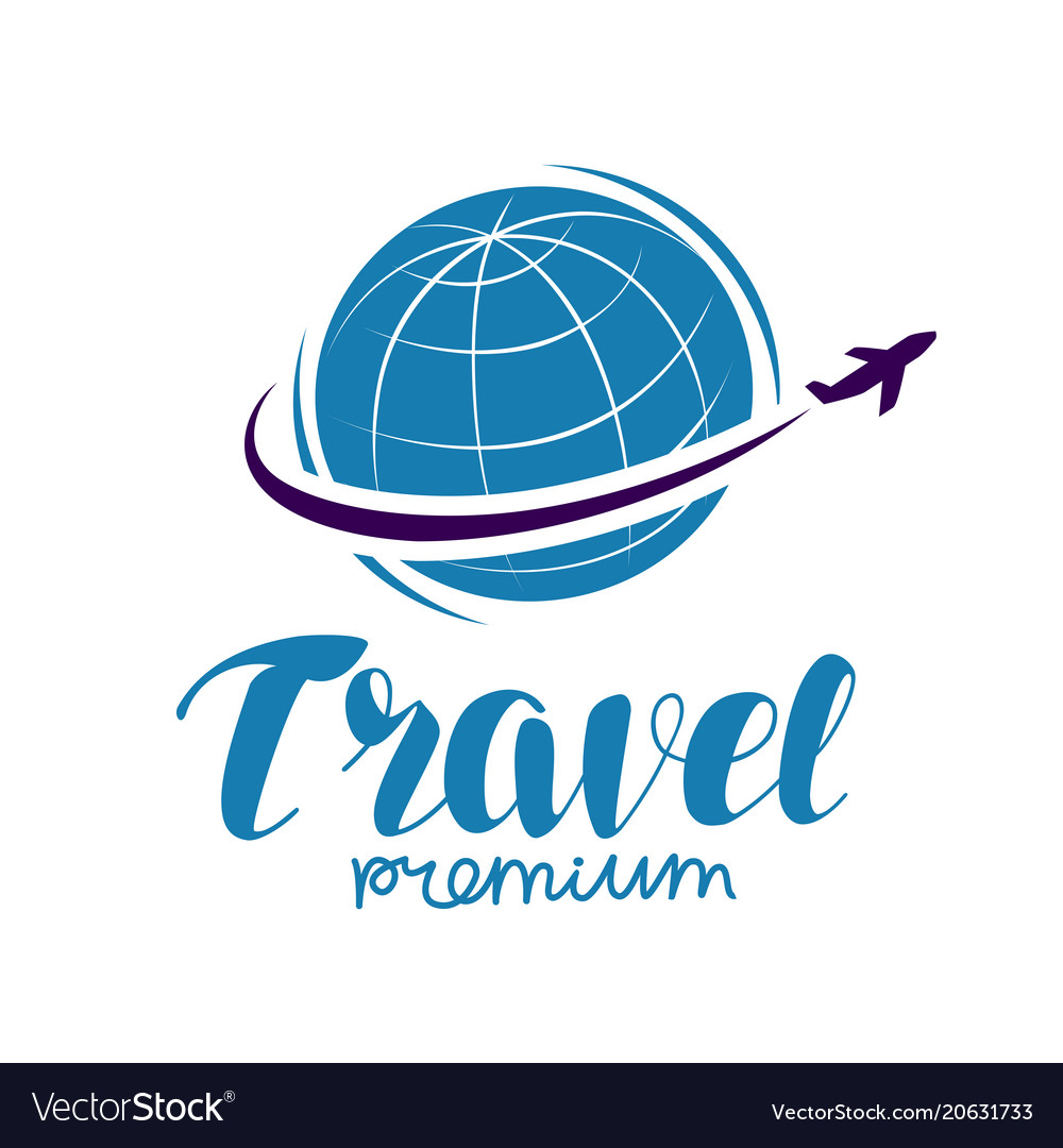Travel logo or label journey tour voyage symbol.