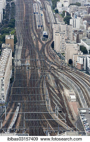 "Stock Photograph of ""Railway tracks leading to Gare Montparnasse."