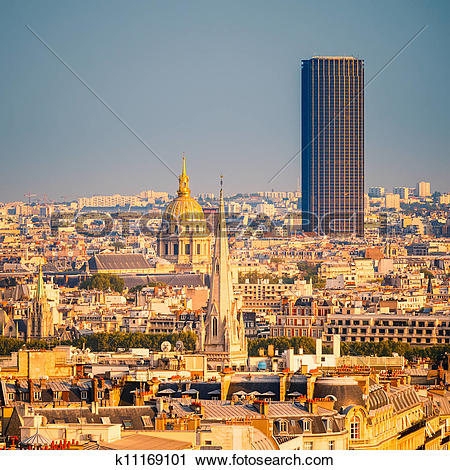 Stock Photography of Tour Montparnasse and Les Invalides, Paris.