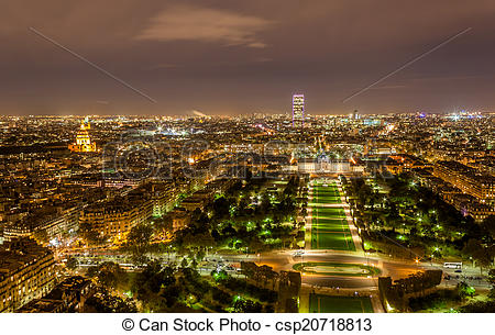 Stock Photography of Tour Montparnasse and Ecole Militaire as seen.