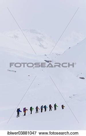 "Picture of ""Tourers, ski tour on the Julier Pass, Graubunden."