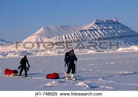 Stock Image of Ski tourers hauling sledges on spring traverse Ny.