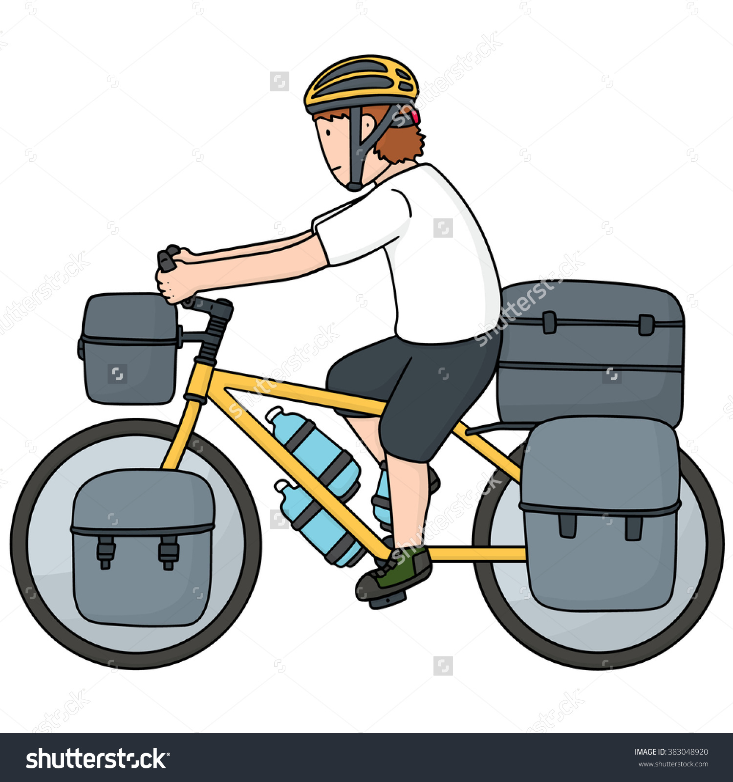 Vector Set Touring Bicycle Stock Vector 383048920.