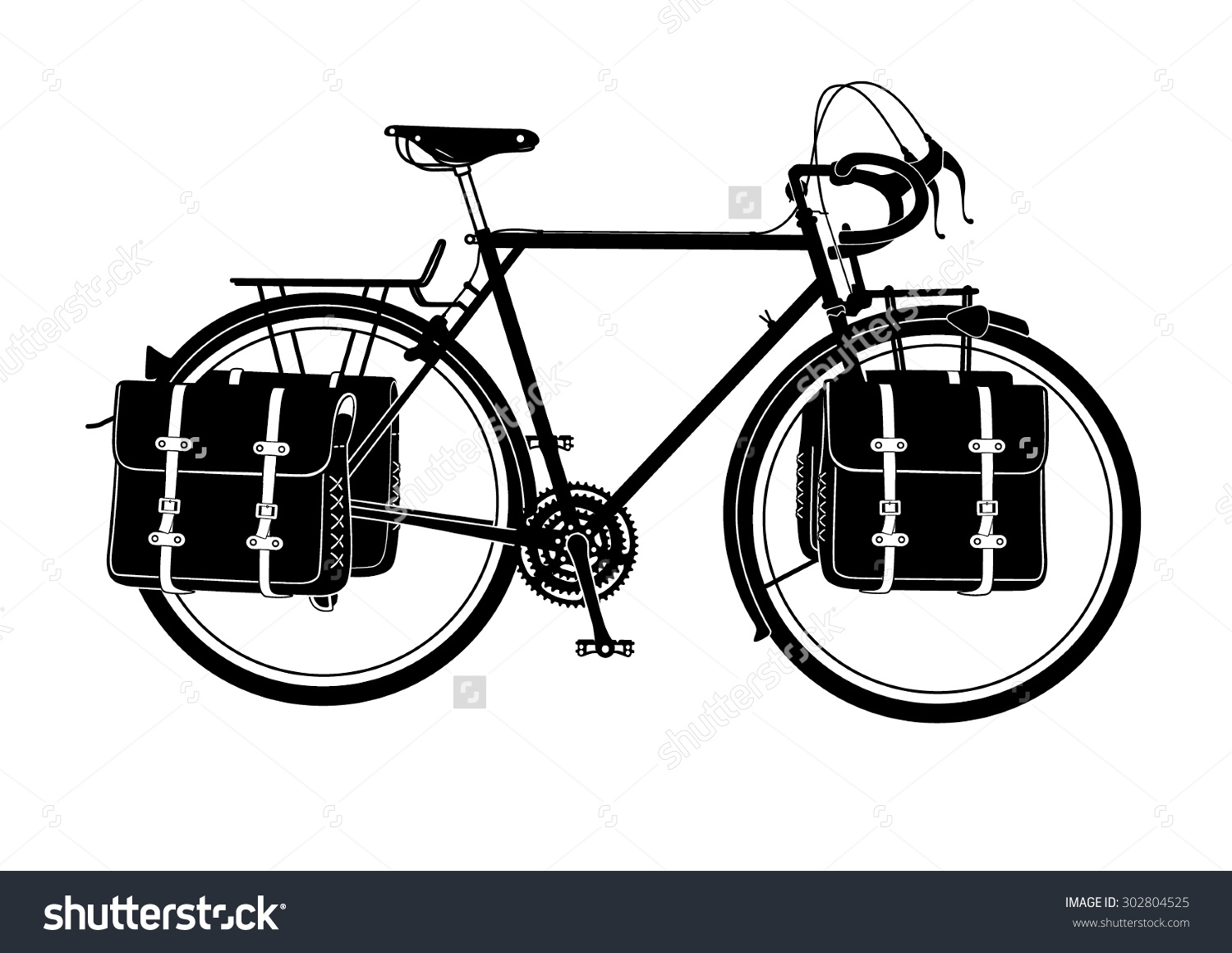 Vintage Full Loaded Touring Bicycle Vector Stock Vector 302804525.