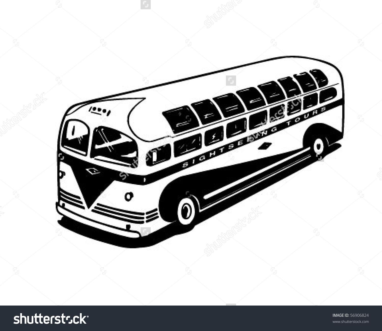 Modern Tour Bus Retro Clip Art Stock Vector 56906824.