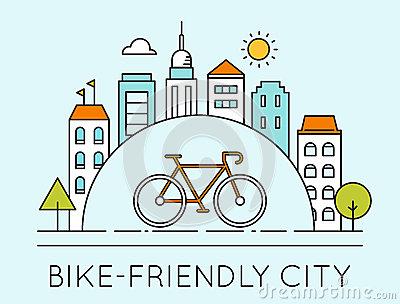 Outline Illustration Of Modern City And Touring Bike. Bike.