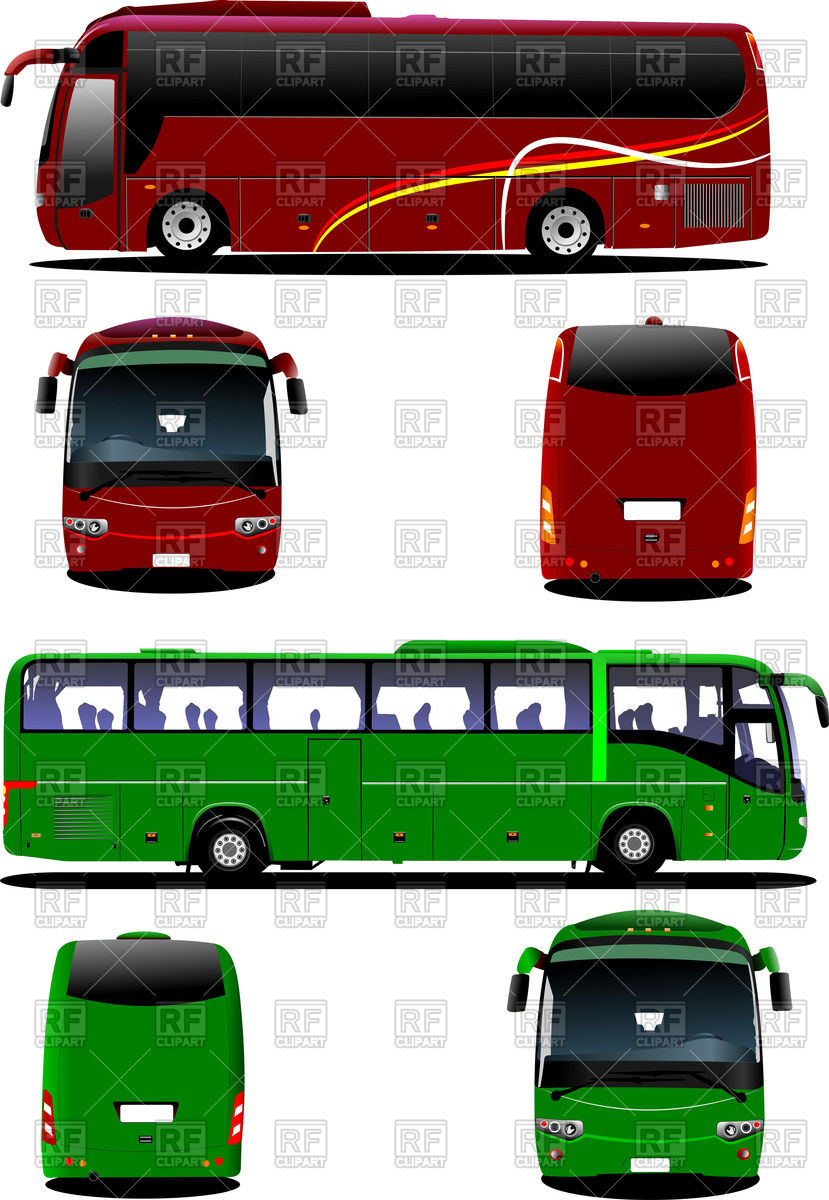 Modern touring bus (green and red).