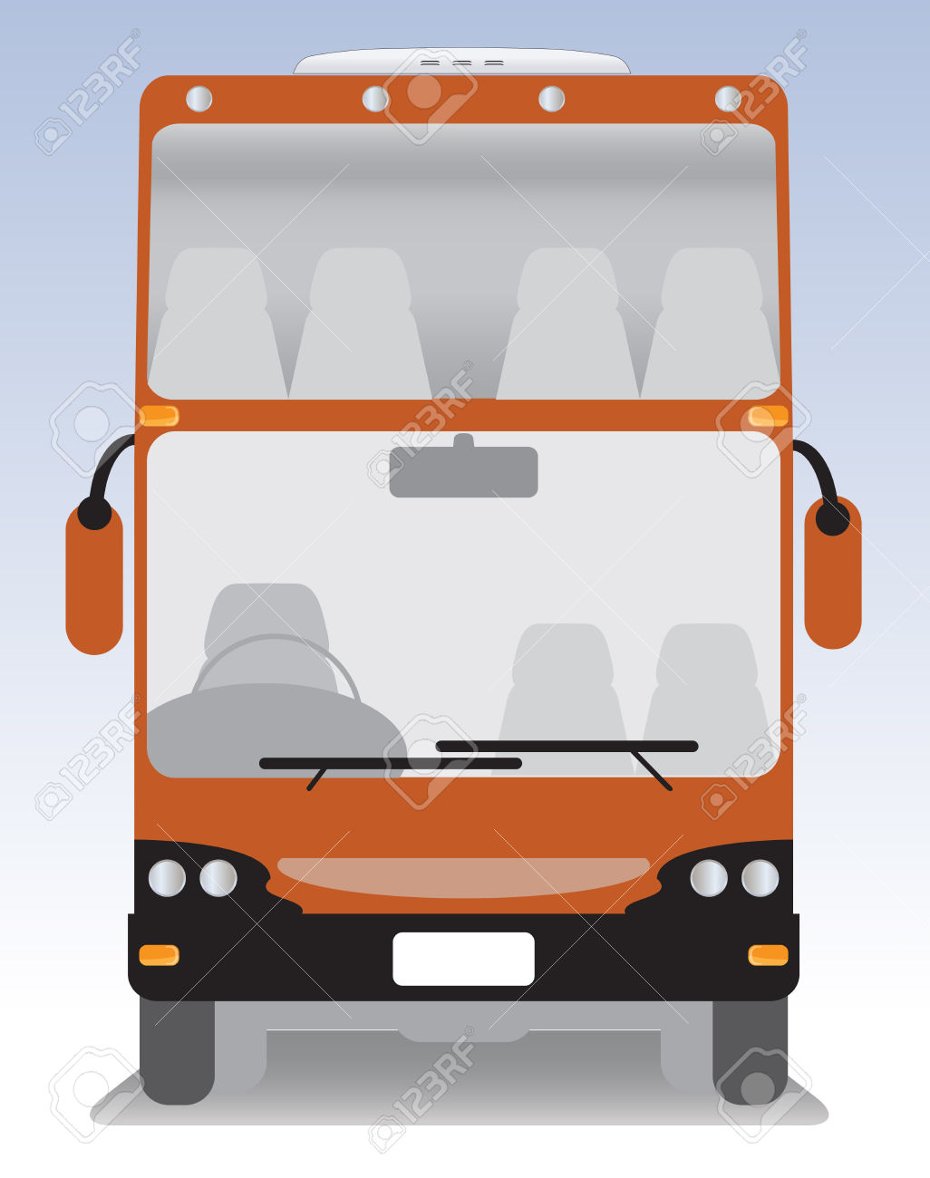 Front View Of Double Deck Modern Touring Bus Royalty Free Cliparts.