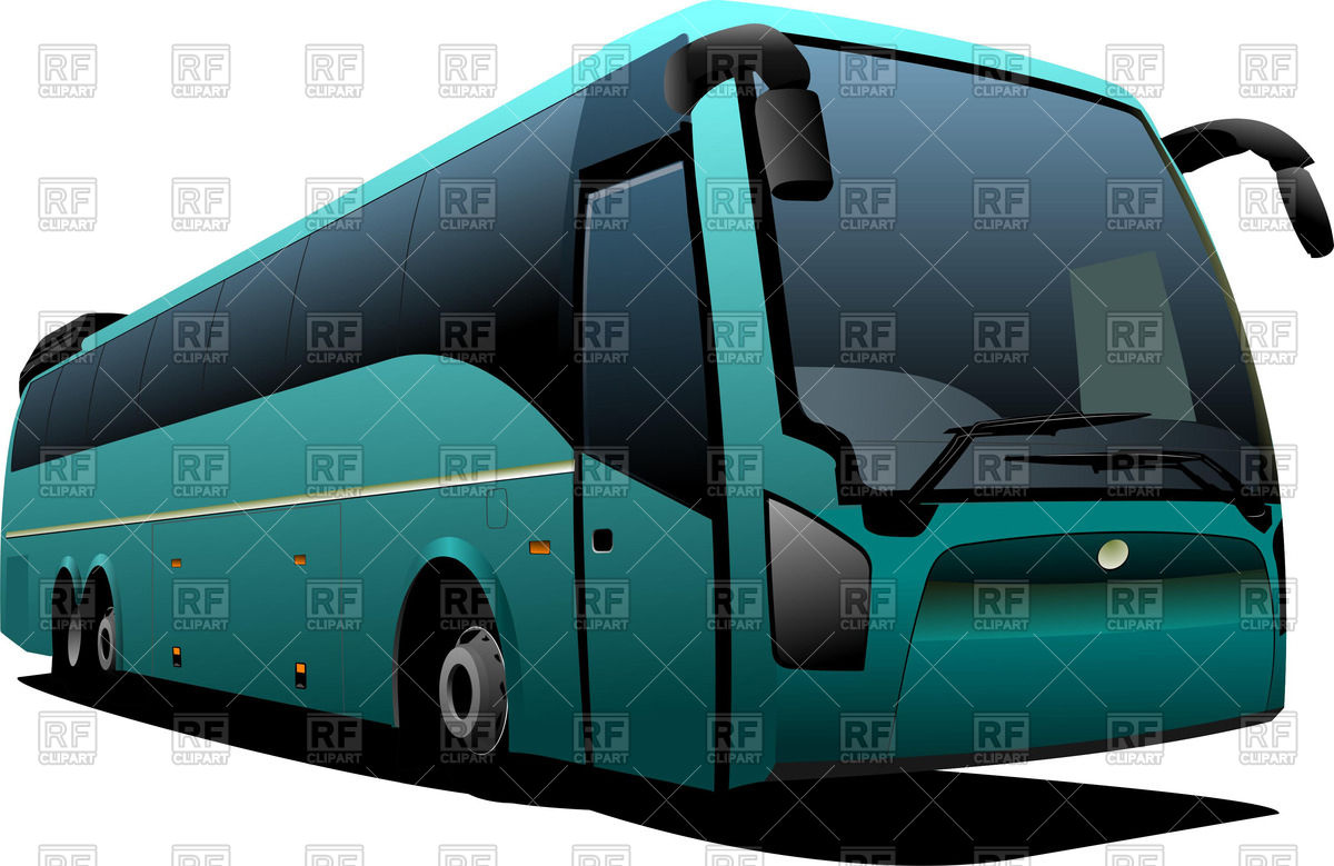 Modern green touring bus, front view Vector Image #55634.