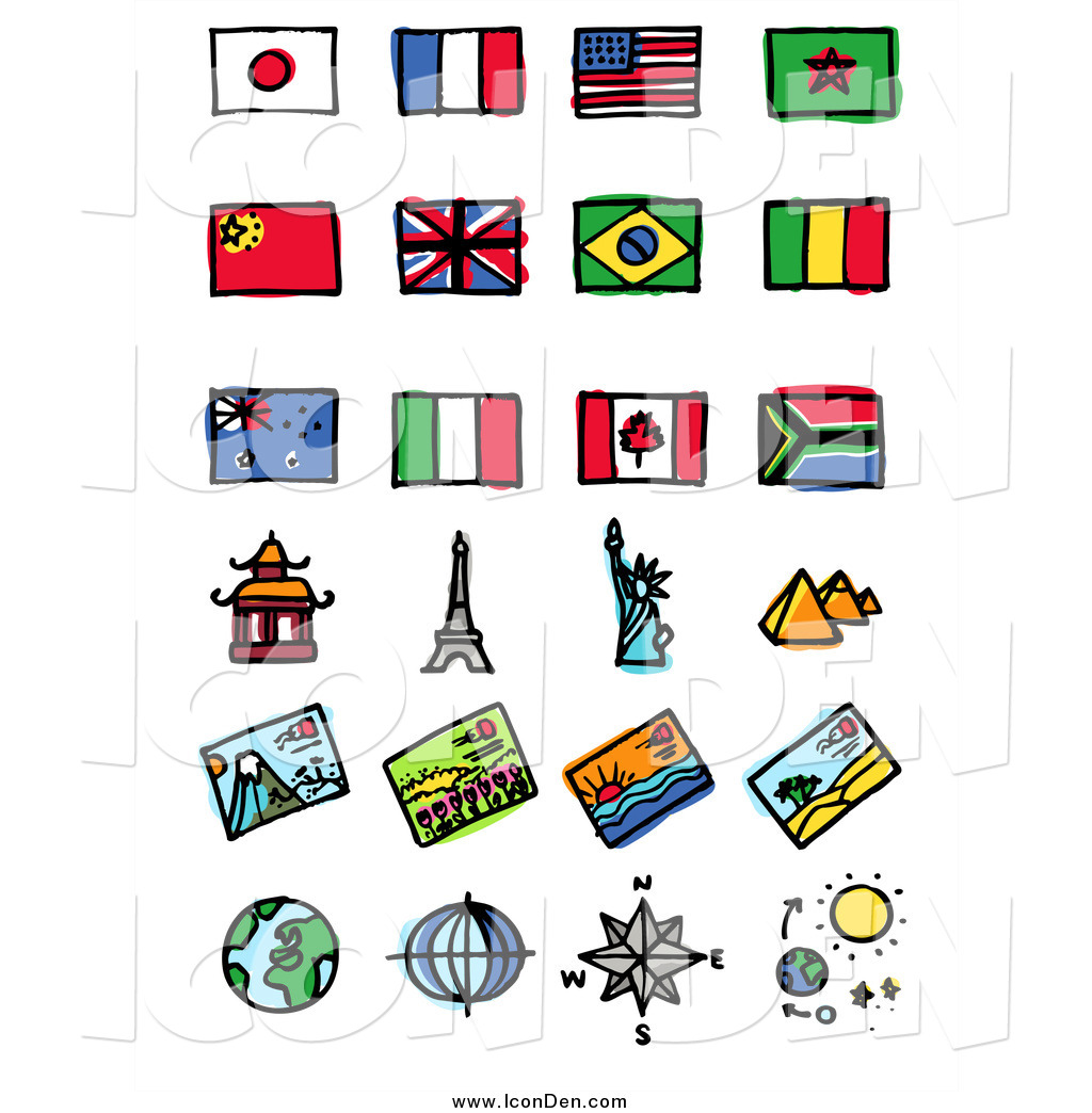 Clip Art of Flags and Tourist Attractions by NL shop.