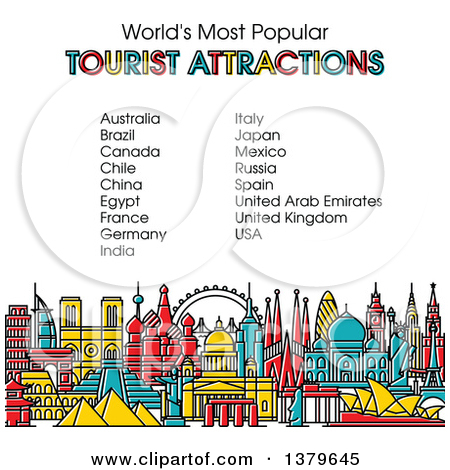 Clipart of the Worlds Most Popular Tourist Attractions in Vibrant.