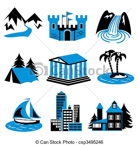 Clip Art Vector of places rest.