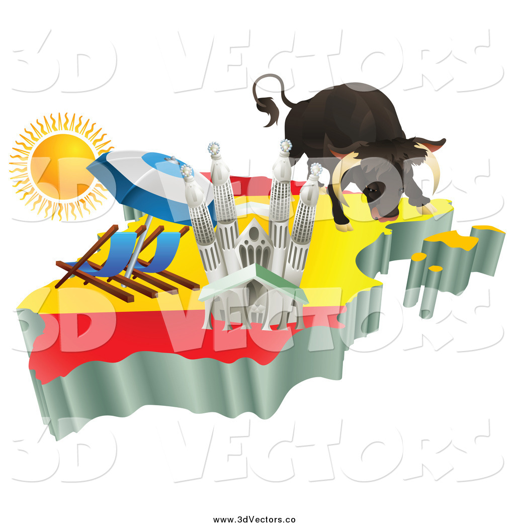 Vector Clipart of a 3d Spanish Tourist Attractions on a Flag Map.