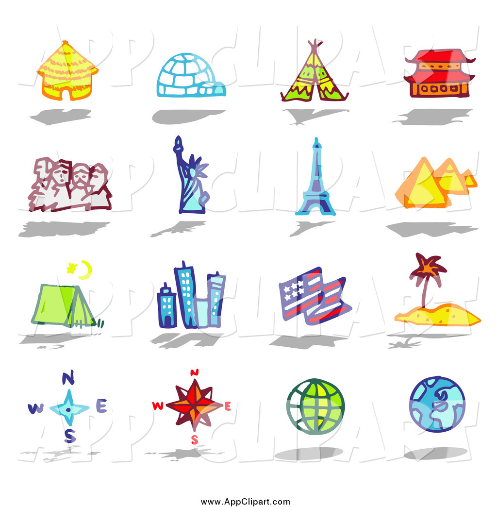 Vector Clip Art of Architecture, Travel and Tourist Attraction App.
