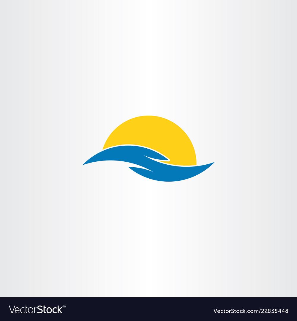 Tourism icon water wave sun symbol logo clip art.