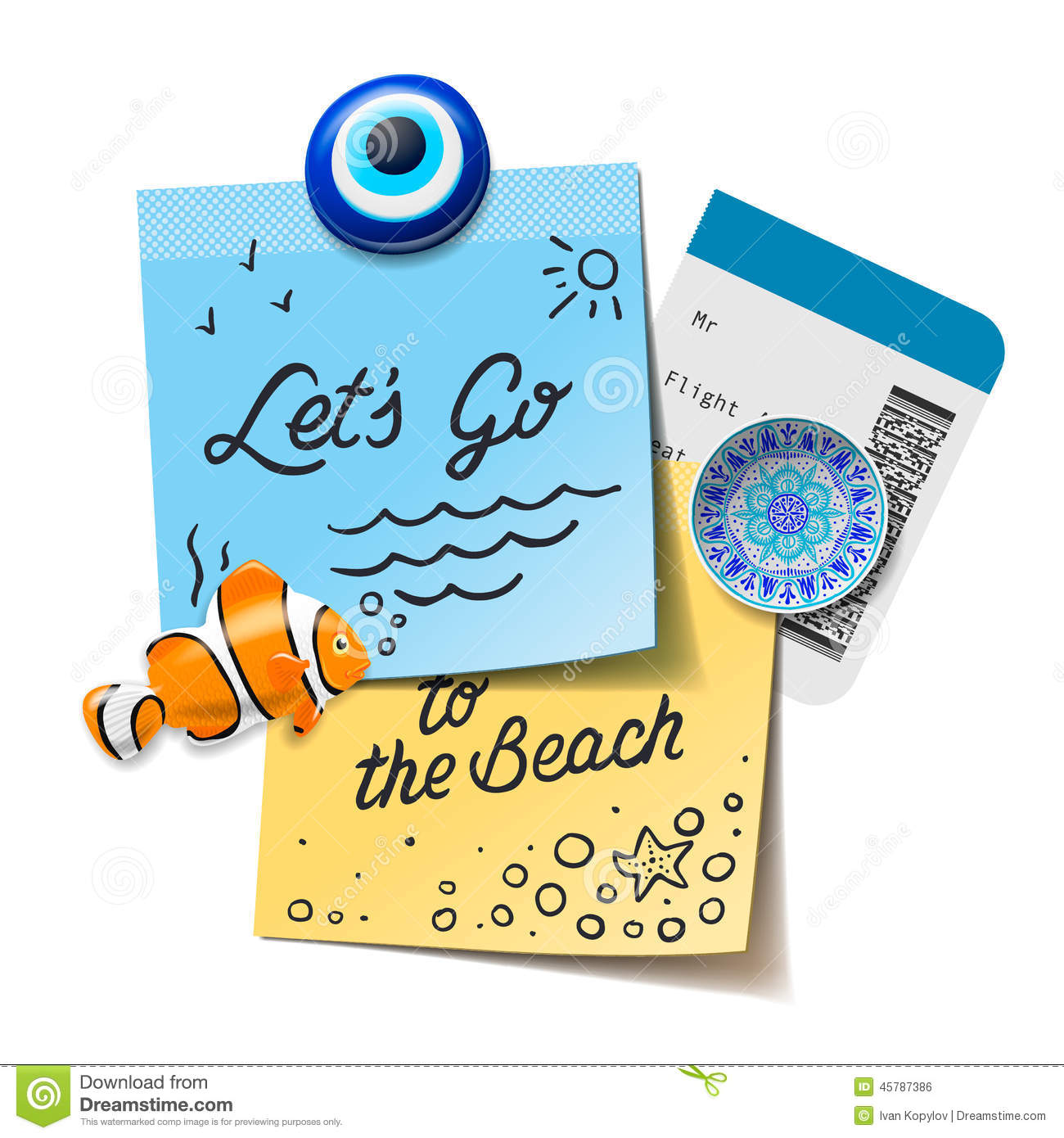Travel And Tourism Concept. Lets Go To The Beach Text On The Post.