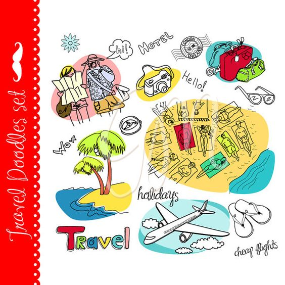 Travel clip art, vacation, tourism, airplane, map, adventures.