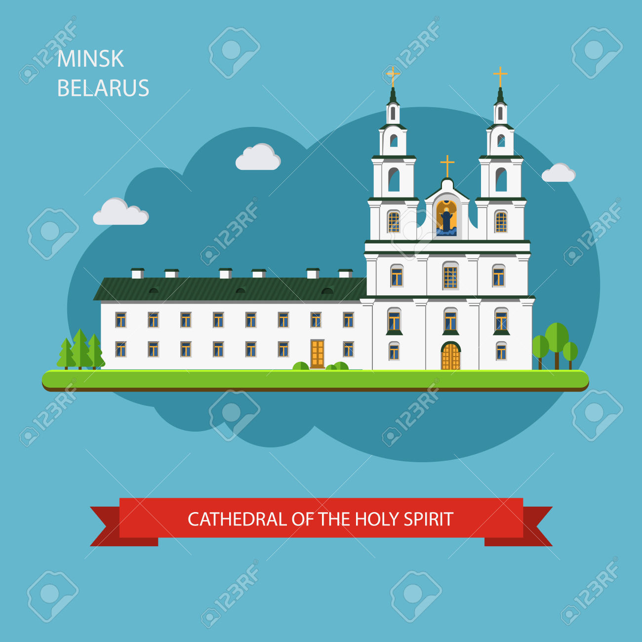 Cathedral Of The Holy Spirit In Minsk. Old City. Landmark In.
