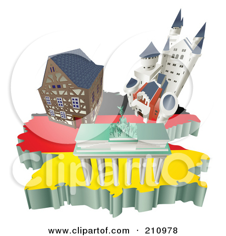 Clipart Illustration of Tourist Attractions In The United Kingdom.