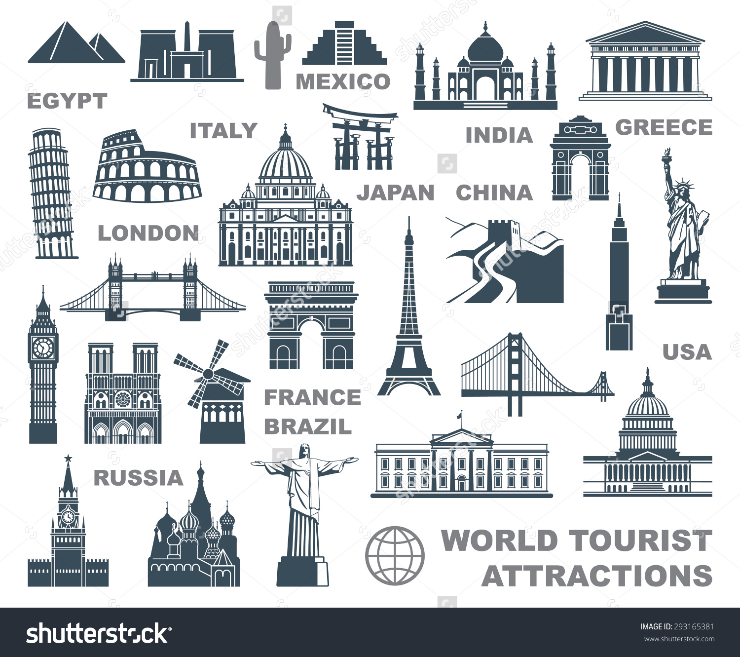 Icons World Tourist Attractions Stock Vector 293165381.