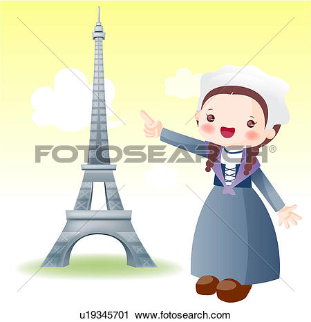 Clipart of Europe, map, tourist attractions, sightseeing, national.