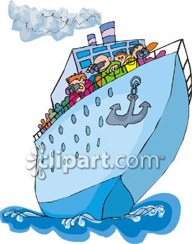 Tourists on a Cruise Ship Clip Art.