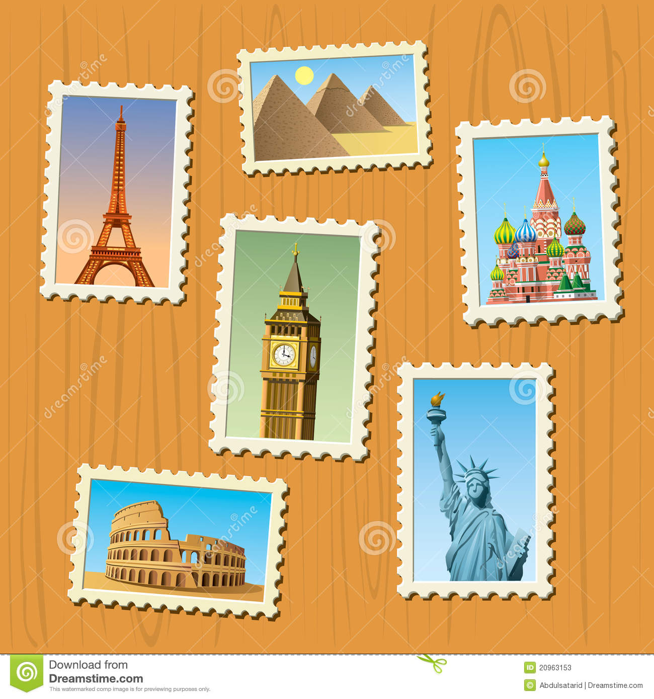 Travel Destinations Atamps Stock Photos.