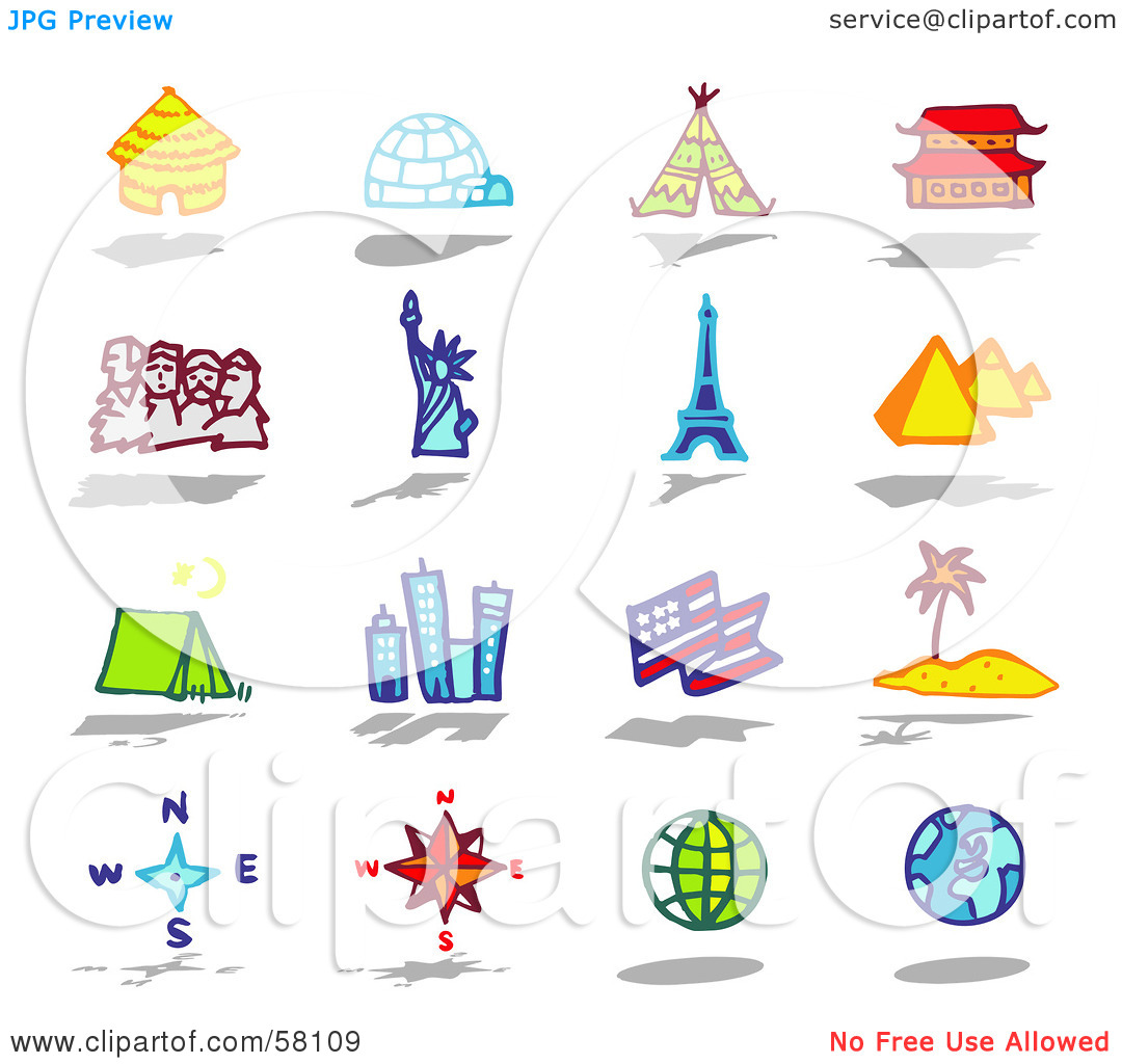 World tourist places clipart.