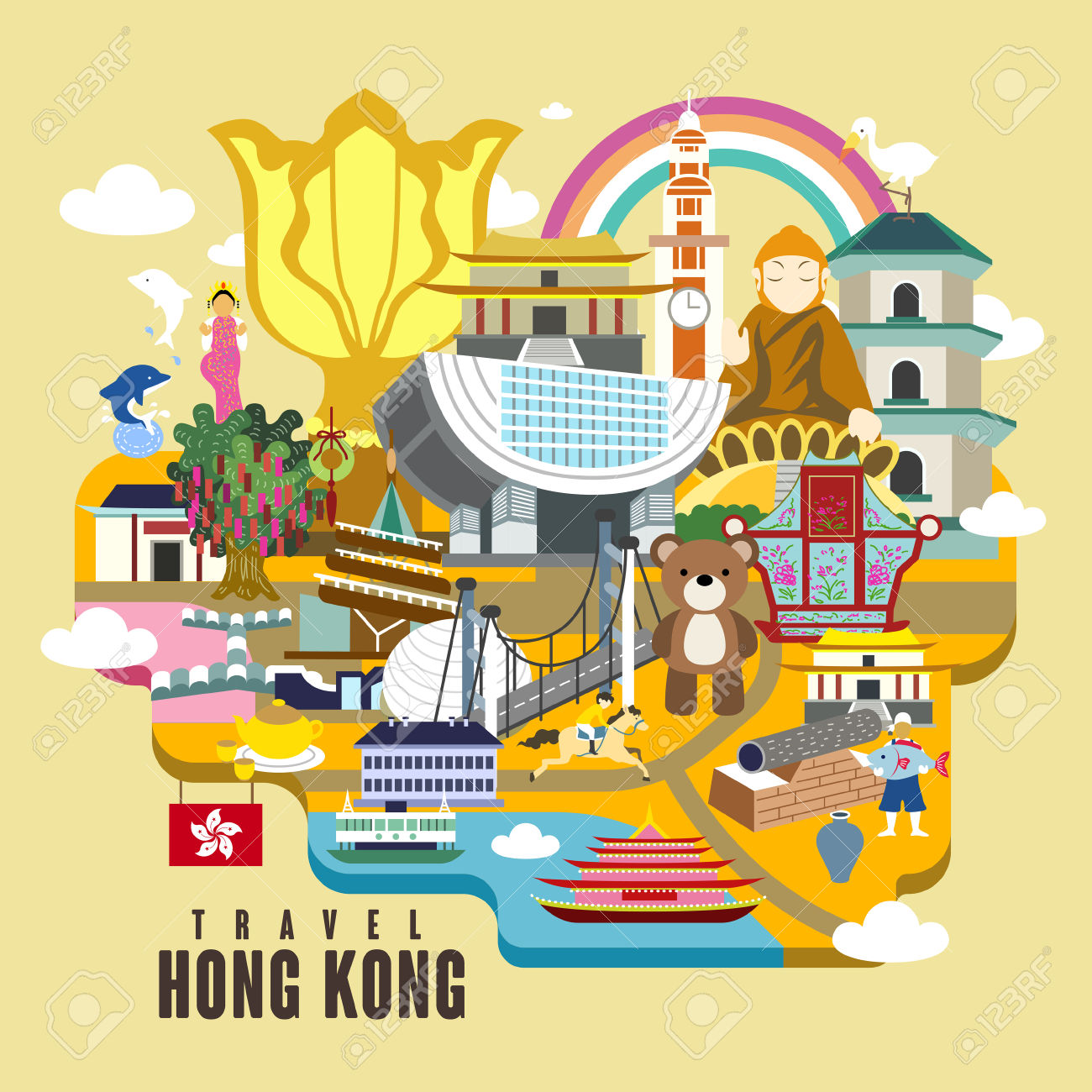 Hong Kong Travel Poster Design With Attractions In Flat Style.