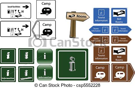 Clip Art Vector of tourist info signs.