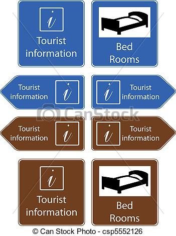 Clip Art Vector of tourist info signs.