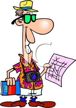 Cartoon of a Tourist on Vacation Holding a Map.