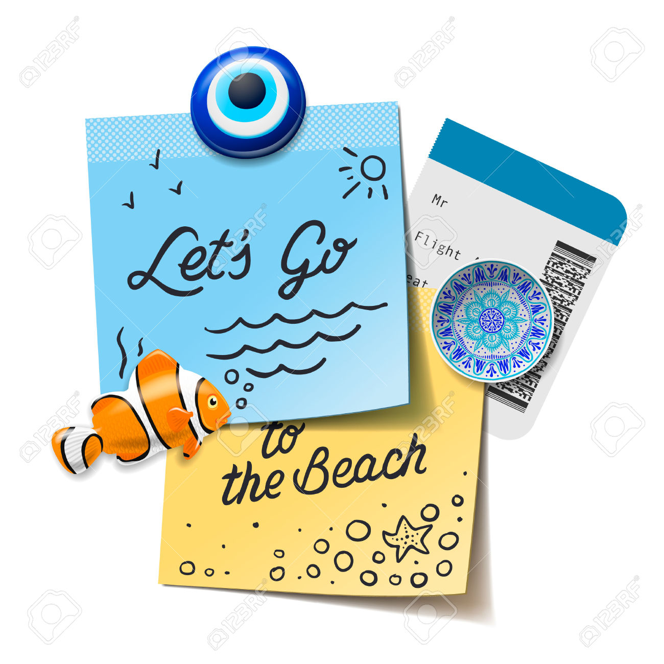 Travel And Tourism Concept. Lets Go To The Beach Text On Notes.
