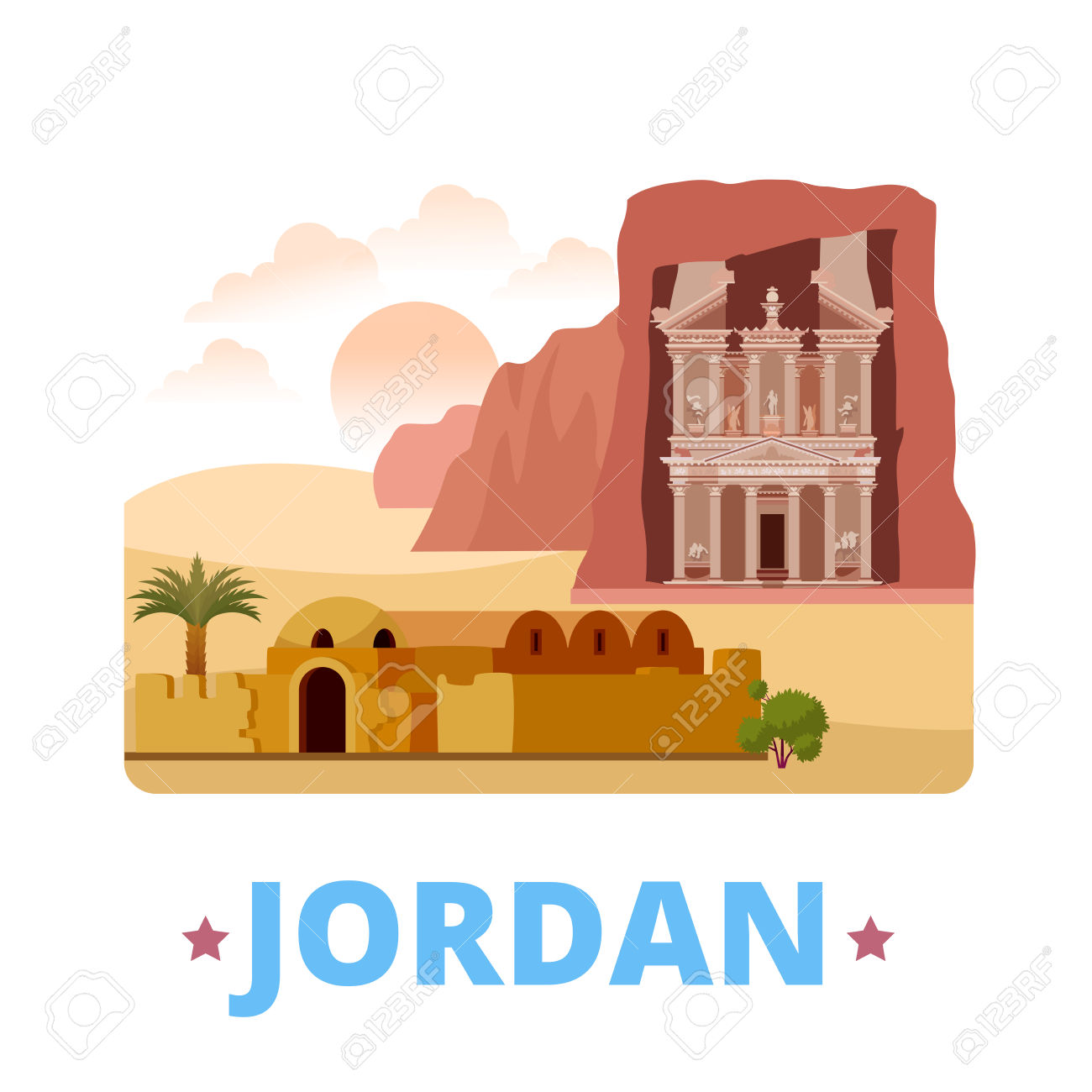 Jordan Country Fridge Magnet Design Template. Flat Cartoon Style.