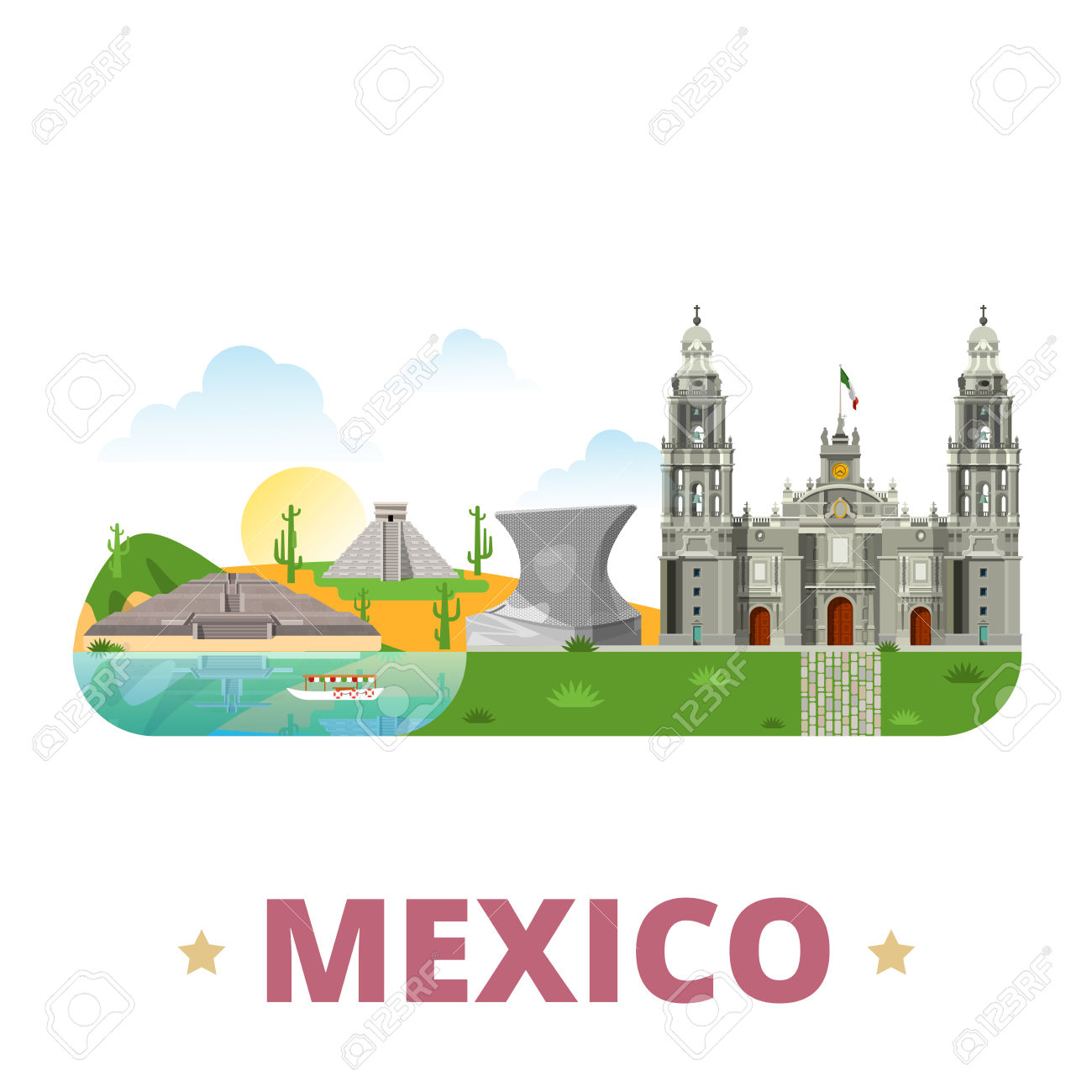 Mexico Country Badge Fridge Magnet Design Template. Flat Cartoon.
