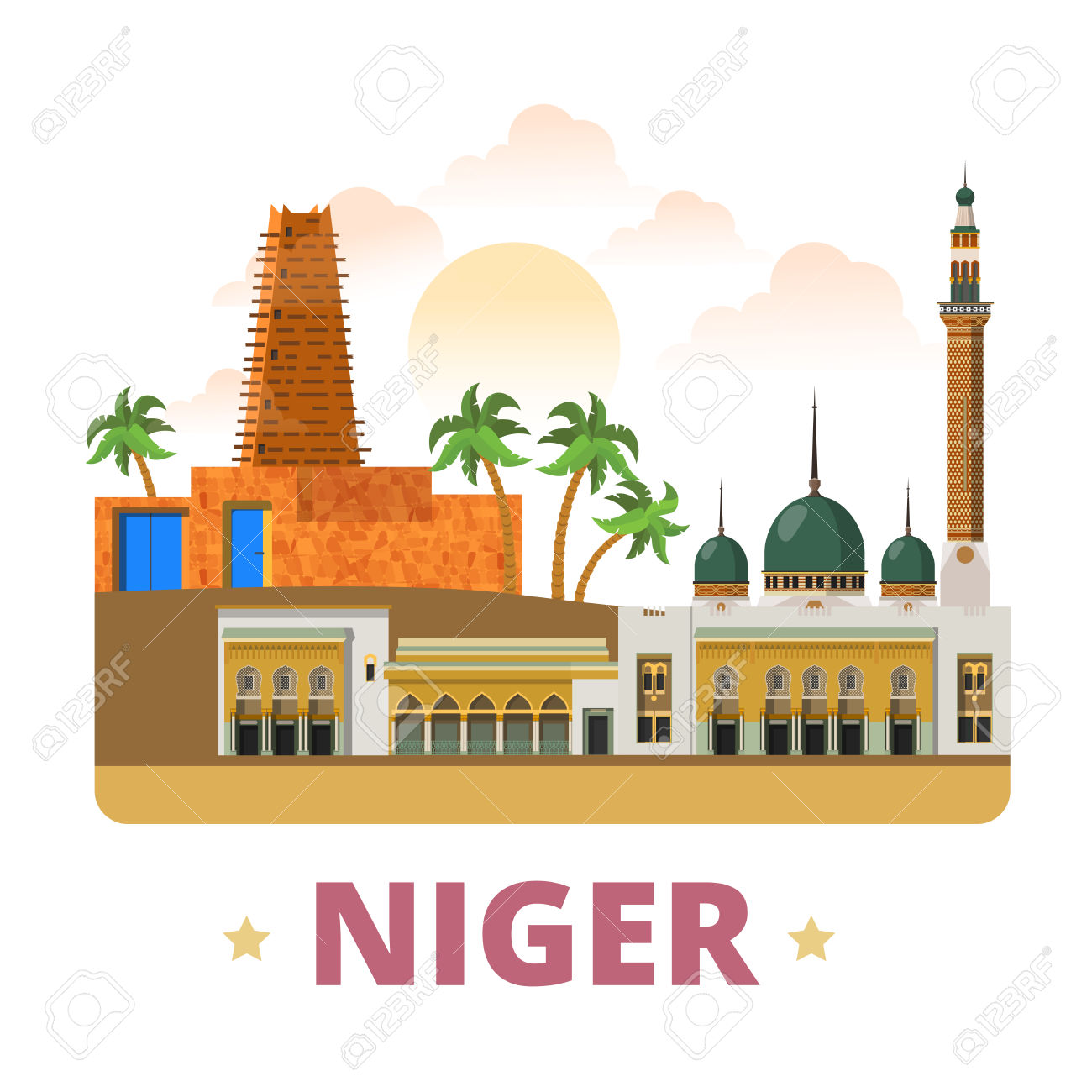 Niger Country Fridge Magnet Design Template. Flat Cartoon Style.