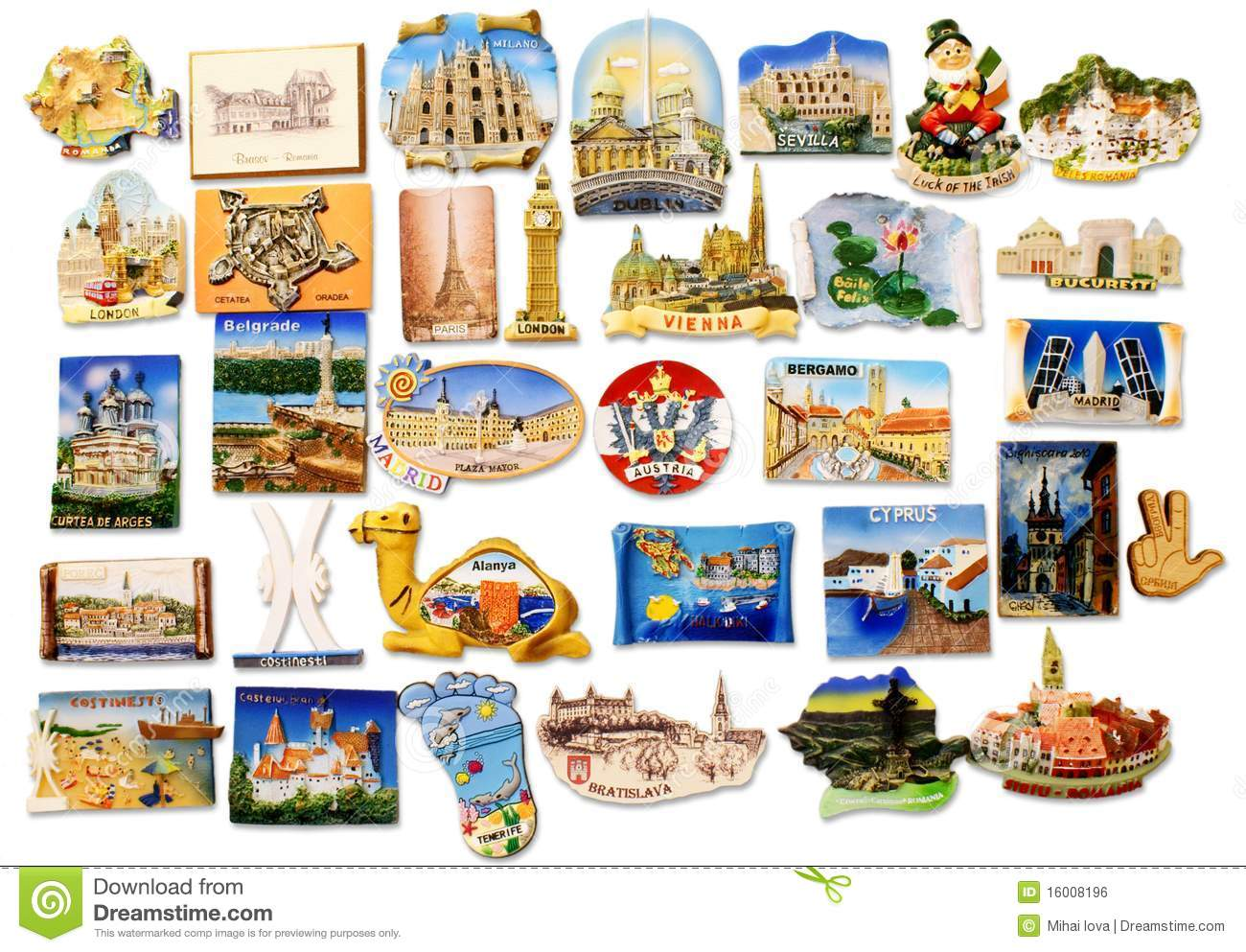Travel Fridge Magnet Collection Royalty Free Stock Image.