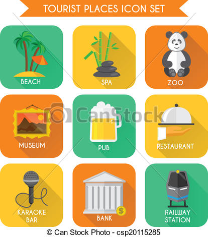 Vector of Tourist Places Icons Set.