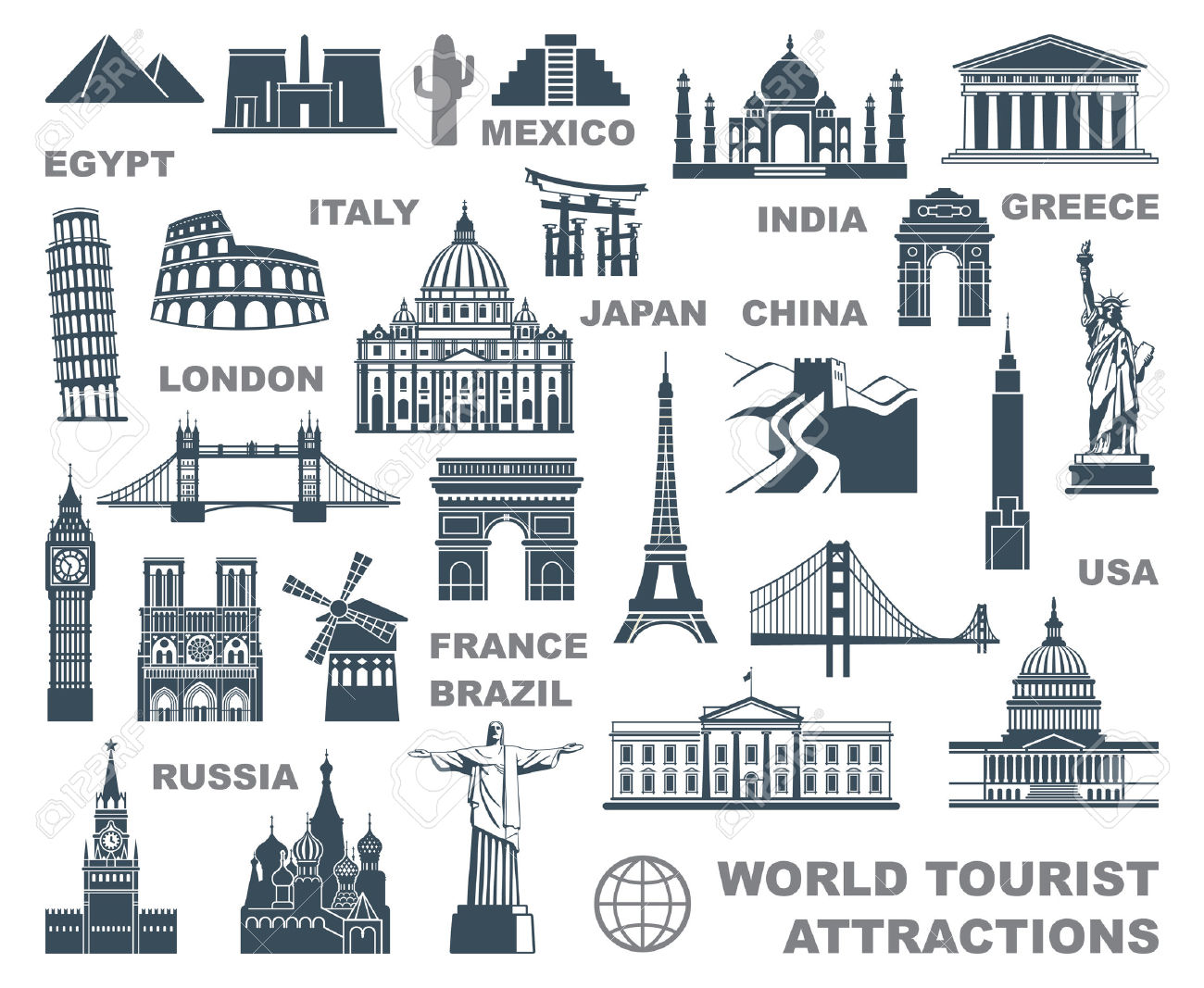 Icons World Tourist Attractions Royalty Free Cliparts, Vectors.