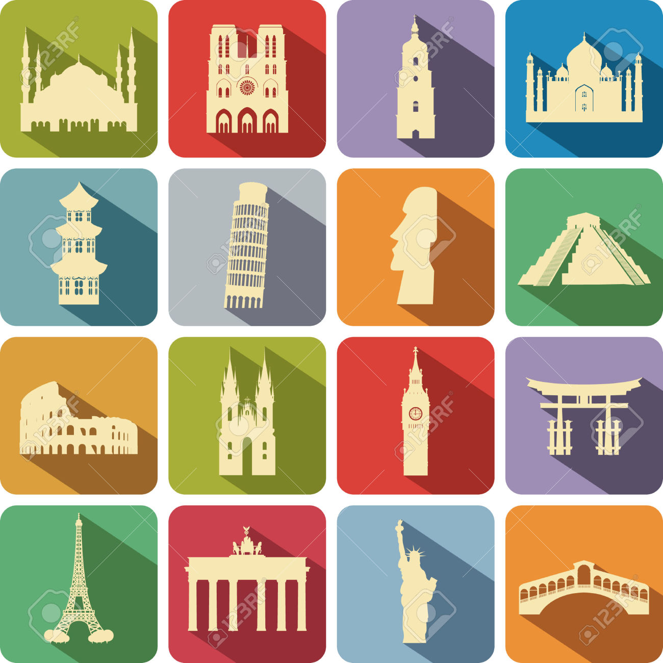 Set Of Computer Icons To The Tourist Attractions Of The Different.