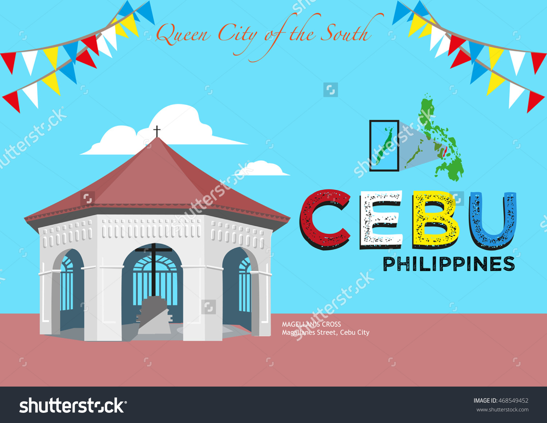 Popular Tourist Spot Magellans Cross Cebu Stock Vector 468549452.
