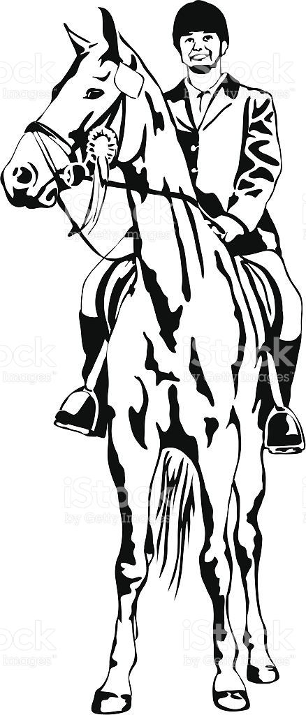 Pround Girl On Tournament Horse With Ribbon stock vector art.