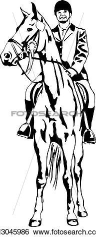 Clip Art of proud girl on tournament horse k13045986.