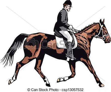 Vectors of trotting horse with rider on tournament csp13057532.