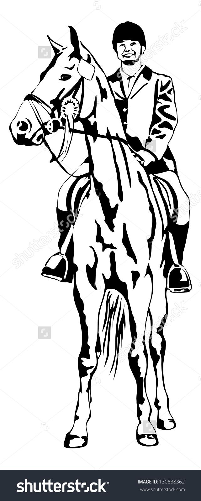 Pround Girl On Tournament Horse Stock Vector Illustration.