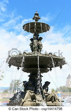 Stock Photographs of Fontaine de Tourny, Quebec City, Canada.
