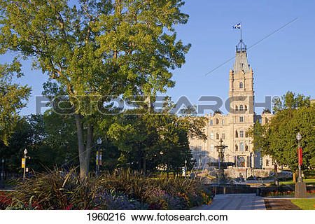 Stock Images of Quebec Parliament Buildings And Tourny Fountain.